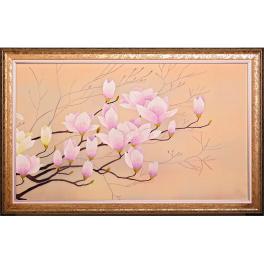 Вышитое шелковое панно «Нежная ветка магнолии», композиция из 2-х картин