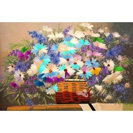Вышитая шелковыми нитями картина «Полевые цветы», тонкая ручная работа