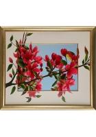 Шелковая картина «Цветущая ветка сакуры»