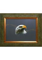 Шелковая картина «Орел на сером фоне»