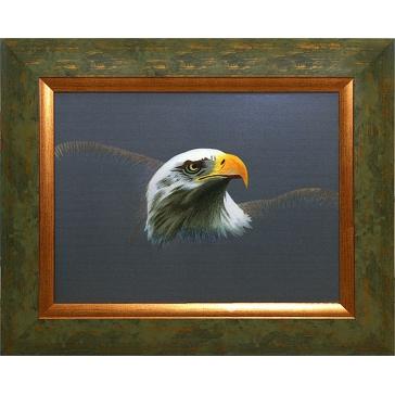 Вышитая шелковыми нитями картина «Орел на сером фоне»