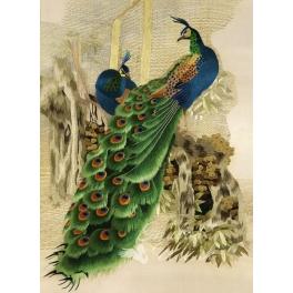 Вышитая шелковыми нитями картина «Павлины»