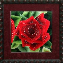 Вышитая шелковыми нитями картина «Роза»