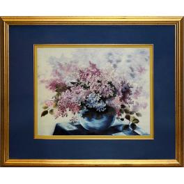 Вышитая шелковыми нитями картина «Сирень» в стиле акварели