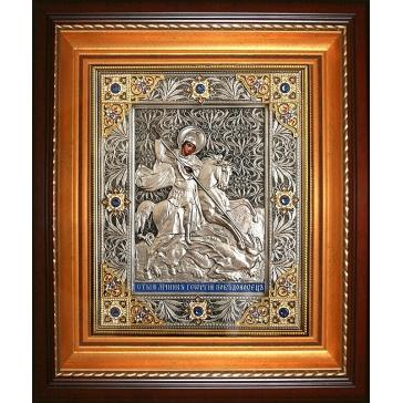 Посеребренная икона «Святой Георгий Победоносец», подарочная