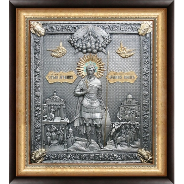 Посеребрённая икона  «Иоанн Воин»