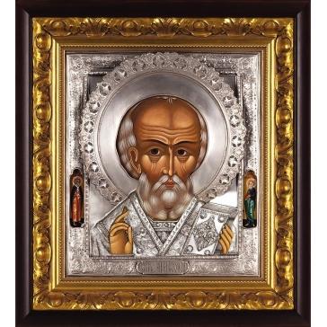 Посеребренная икона «Николай Чудотворец»