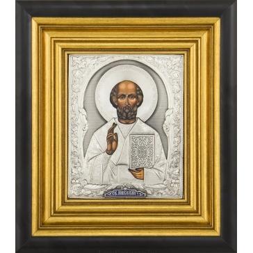 Икона «Святитель Николай Чудотворец» посеребренная