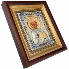 Икона «Святитель Николай Чудотворец» посеребренная с золотым венцом