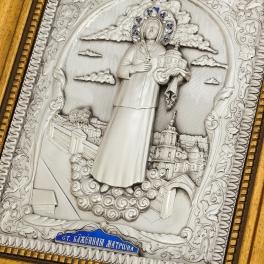 Подарочная посеребренная икона «Святая Матрона Московская»