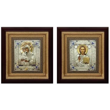 Венчальная пара икон: Божья Матерь «Почаевская» и «Господь Вседержитель»