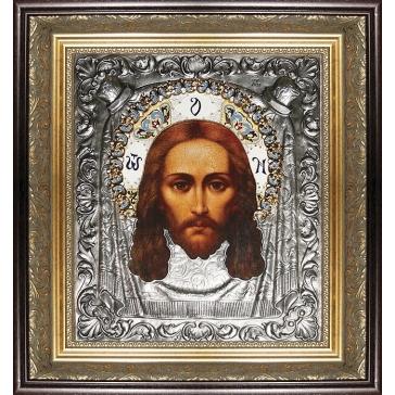 Икона «Спас Нерукотворный», посеребренная, в раме.