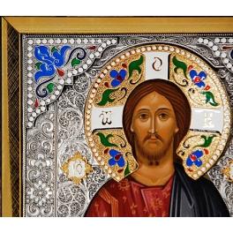 Посеребренная икона «Господь Вседержитель» в раме.
