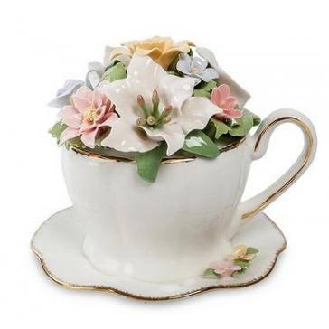 Музыкальная цветочная композиция «Цветы в чашечке»