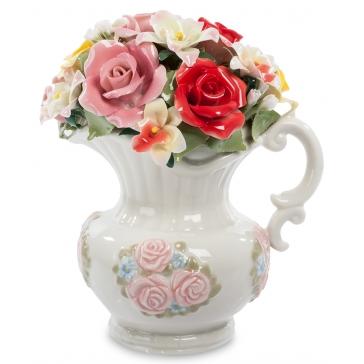 Музыкальная фарфоровая статуэтка «Кувшин с цветами»