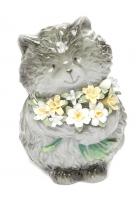 Фарфоровая статуэтка «Котенок с букетом»