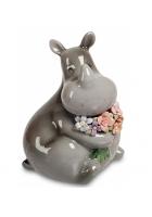 Фарфоровая статуэтка «Носорог с букетом»