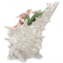 Музыкальная фарфоровая статуэтка «Ракушка с цветами»