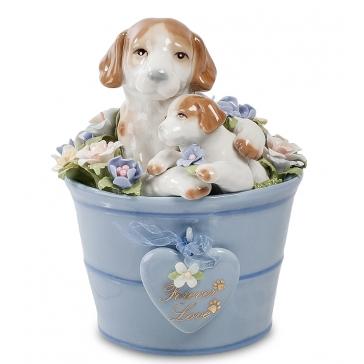 Музыкальная фарфоровая статуэтка «Собака со щенком»