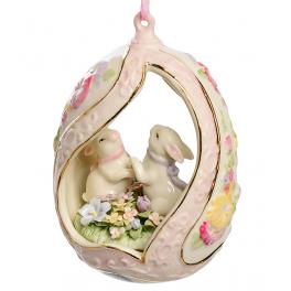 Музыкальная статуэтка из фарфора «Пасхальные кролики» (подвеска)