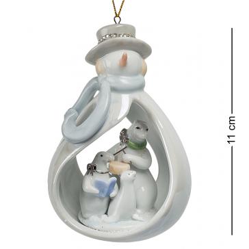 Керамическая новогодняя подвеска «Снеговичок», 11х7,5х6,5 см