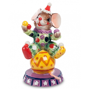 Статуэтка из керамики «Мышонок-клоун», символ 2020 года