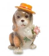Фарфоровая статуэтка «Пёсик с букетом»