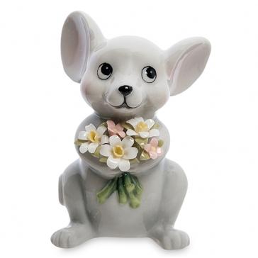 Фарфоровая статуэтка «Мышка с букетом», символ 2020 года