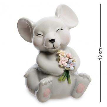 Фарфоровая статуэтка-копилка «Мышка с цветами», символ 2020 года