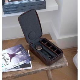 Дорожная шкатулка для хранения 1-х часов и запонок