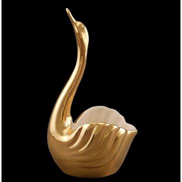 Изящная ваза для фруктов «Золотой лебедь», 21х19х40 см