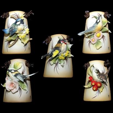 Миниатюрное панно из фарфора «Поющие птички»