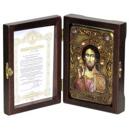 Настольная икона «Господь Вседержитель» на морёном дубе