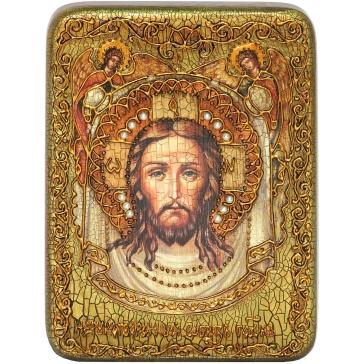 Икона «Спас Нерукотворный» на морёном дубе.