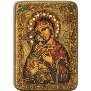 Владимирская икона Божией Матери на доске из морёного дуба