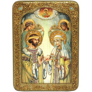 Подарочная икона на морёном дубе «Петр и Феврония Муромские», 21х29 см