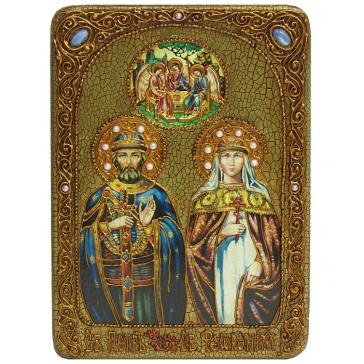Подарочная икона «Петр и Феврония Муромские», 21х29 см