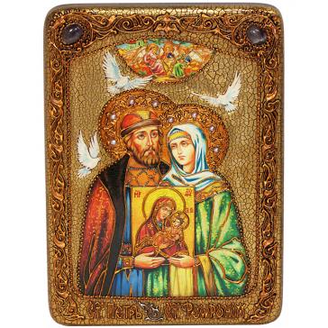 Подарочная икона «Петр и Феврония Муромские» на морёном дубе