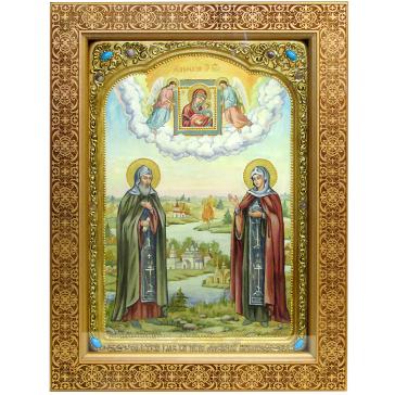 Живописная икона «Петр и Феврония Муромские» на кипарисе, 29х42 см