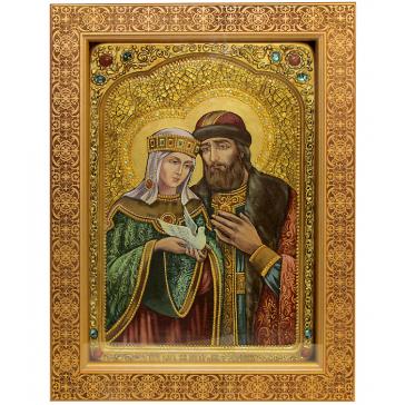 Живописная икона на кипарисе «Петр и Феврония Муромские», производство Россия