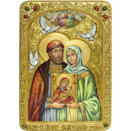 Живописная икона «Петр и Феврония Муромские» в киоте, производство Россия