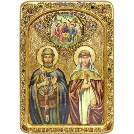 Живописная икона «Петр и Феврония Муромские» в киоте, размер 29х42 см