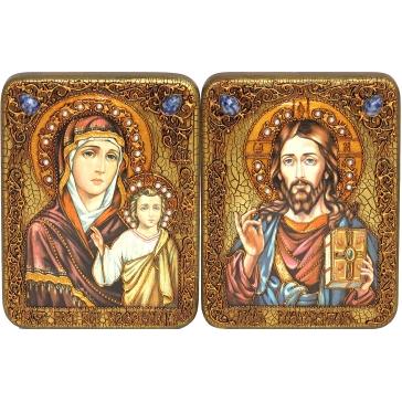 Венчальная пара икон: Казанская Божья Матерь и Господь Вседержитель