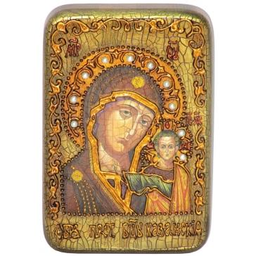Казанская икона Божией матери на доске из морёного дуба