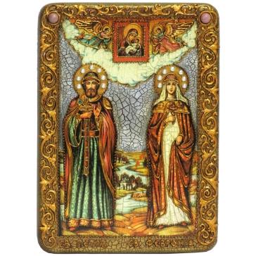 Подарочная икона «Петр и Феврония Муромские» на доске из морёного дуба