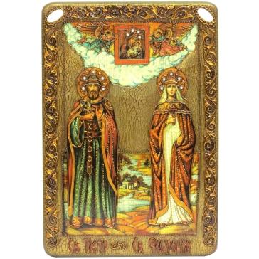 Большая подарочная икона «Петр и Феврония Муромские» на доске из морёного дуба