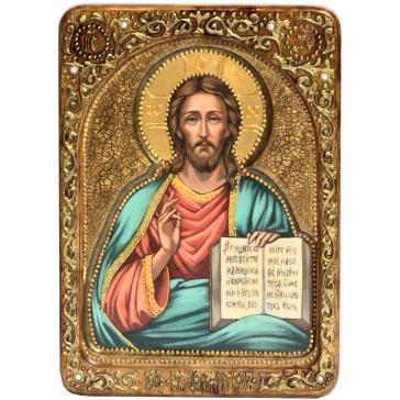 Живописная икона Господа Вседержителя на доске из кипариса