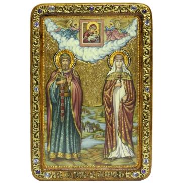Живописная икона «Петр и Феврония Муромские» на доске из кипариса