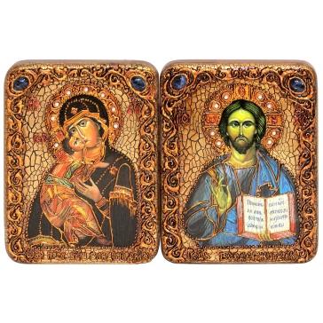 Венчальная пара икон: Владимирская Божья Матерь и Господь Вседержитель