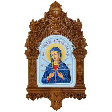Рукописная икона Богородицы «Умягчение злых сердец» с киотом, производство Россия